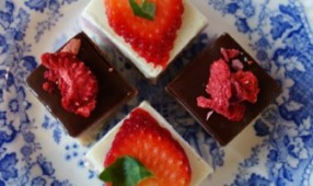 Strawberry Slice Blue Plate